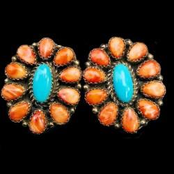 Boucles d'Oreilles Fleur Navajo en Argent Turquoise Spondylus