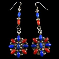 Lapis Lazuli and Red Coral Flower Sterlingsilver Earrings