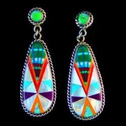 Teardrop Zuni Stone-to-stone Inlay Sterlingsilver Earrings
