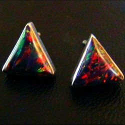 BLACK OPAL TURQUOISE TRIANGULAR SILVER EARRINGS