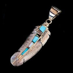 Feather Zuni Sterlingsilver Pendant with Turquoise & Opal
