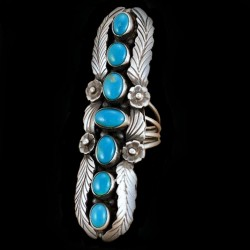 Indian Navajo Sterlingsilver Ring For Woman with 7 Cabochons Color Choice