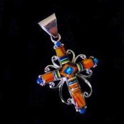Bijou Amerindien Pendentif Croix Zuni Argent et Mosaïque de pierres