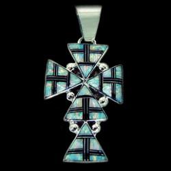 Pendentif Croix Navajo en Argent et Opal
