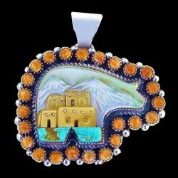 Indianerschmuck Bär Pueblo Anhänger Aus Silber 925