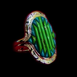 Bague Argent Motif Navajo Corn Row Turquoise Gaspeite