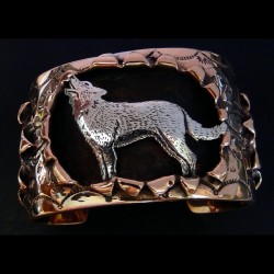 Silver Wolf Copper Bracelet For Man