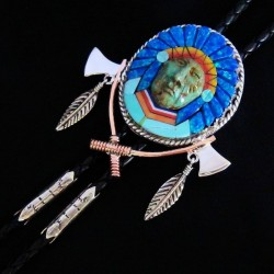 Indian Chief Dakota Lakota Sterlingsilver & Antic Copper Bolo Tie
