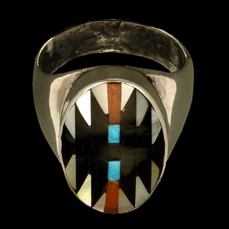 Bague Amerindienne Argent Symbole Navajo pour Homme & Pour Femme Nacre