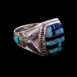 Bague Chevalière Amerindienne Pour Femme & pour Homme Zuni Inlay Lapis Lazuli Opale