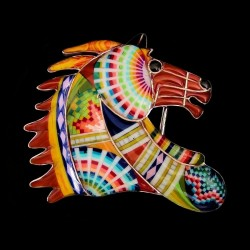 Boucle de ceinture Tête de Cheval Mustang Spondylus en Argent