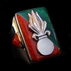 Bague Légion Etrangère en Argent Malachite & Corail