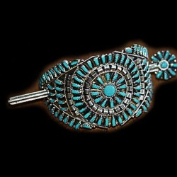 Zuni Needlepoint Sterlingsilver Hair Barrette Color Choice