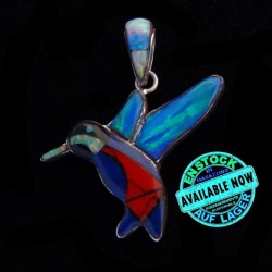 Humming Bird Sterlingsiler Pendant with Semi Precious Stones Inlay