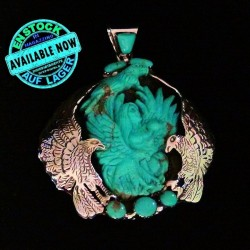 Eagle & Indian Warrior Sculpted with Sleeping Beauty Sterlingsilver Pendant