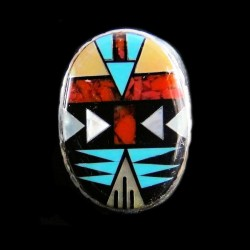 Turquoise, MOP & Coral Navajo Symbol Sterlingsilver  Ring