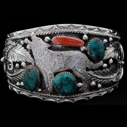 Standing Howling Wolf Sterling Silver Bracelet With Turquoise & Coral