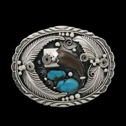 Boucle de ceinture Navajo Griffe d'Ours Plumes et Turquoises en Argent 925