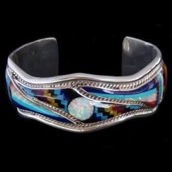 Sterlingsilver Zuni Bracelet For Woman with Opal & Gemstones