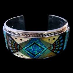 Navajo Pattern Sterlingsilver Bracelet For Man