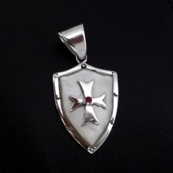 Sterlingsilver Crusader Malta Cross Shield Pendant