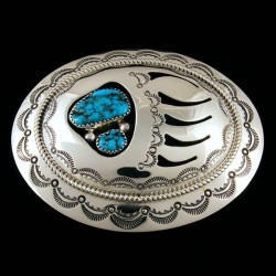Two Turquoises Bearpaw Sterlingsilver Beltbuckle