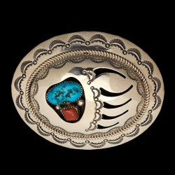 Turquoise & Coral Bearpaw Sterlingsilver Beltbuckle
