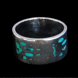 Wolf Track Sterlingsilver Bandring Color Choice