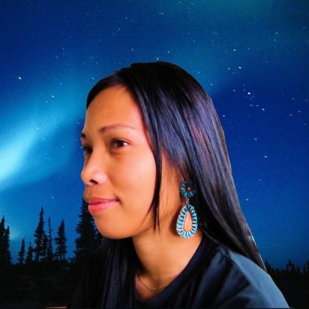 Boucles d'Oreilles Navajo Teardrops en Argent 925 Turquoise Spondylus