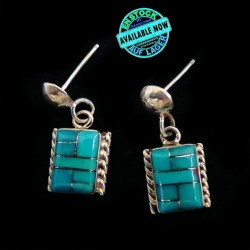 Channel Inlay Square Sterlingsilver Earrings Color Choice