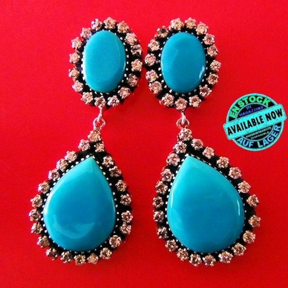 Turquoises and Zircons Sterlingsilver Earrings