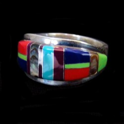 Multicolor Gemstones Channel Inlay Sterling Silver Band Ring