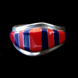 Red Coral and Lapis Lazuli Channel Inlay Sterlingsilver Ring