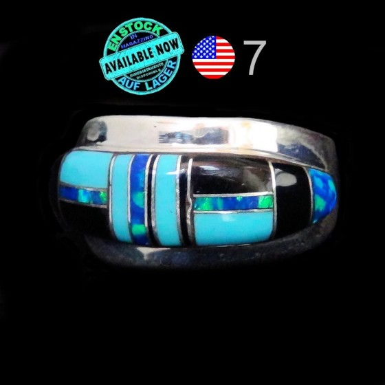 Turquoise and Lapis Lazuli Channel Inlay Sterlingsilver Ring Size 7