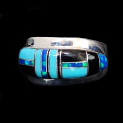 Turquoise and Lapis Lazuli Channel Inlay Sterlingsilver Ring