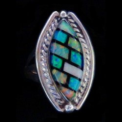 925 Silver Oval Ring 3 Opals For Woman