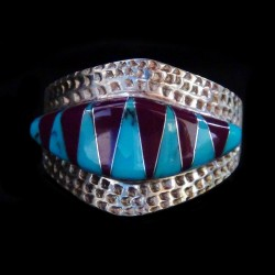 Turquoise and Sugilit Sterlingsilver Bandring For Woman and for Man