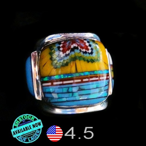 Multicolor Inlay Women's Signet Ring Size 4.5