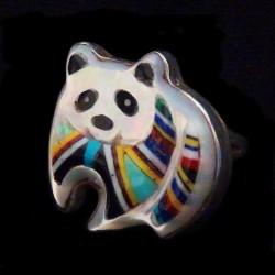 Bague Panda en Argent et Pierres pour Femme