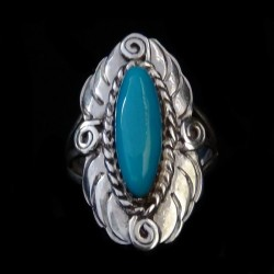 Navajo Lady Sterlingsilver Ring oval cabochon  Color Choice