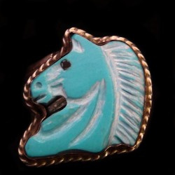 Turquoise Handcarved Horse Head Sterlingsilver Ring For Woman